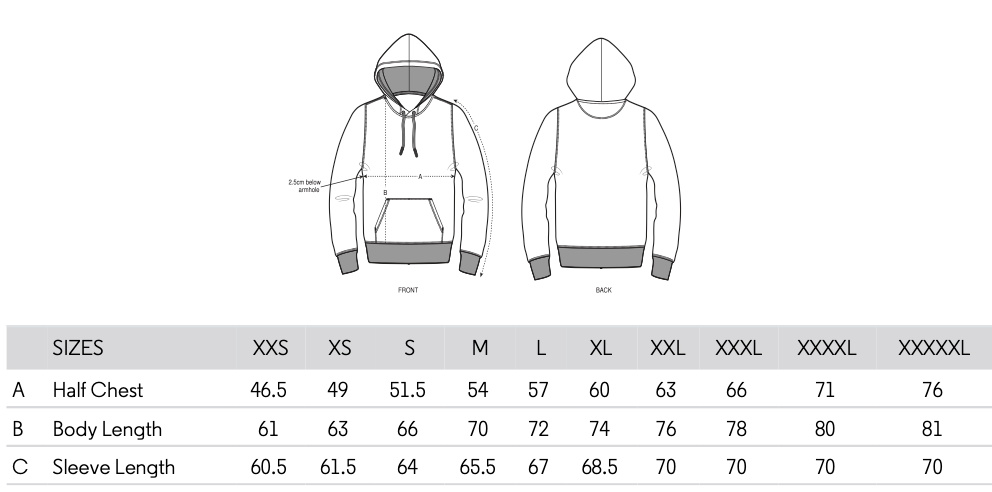 Bluegrass Hoodie Sizing Guide